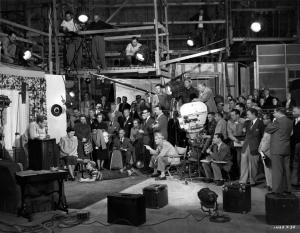 The technicians, craftsmen and studio personnel - the  small army of workers behind  the scenes -  during the filming of MGM's 'The Next Voice You Hear', (in USA).     (Photo by Hulton Archive/Getty Images)